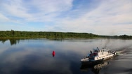 Passenger vessel moves on the river Svir in north Russia Stock Footage