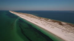Barrier Island with white sandy beach Stock Footage
