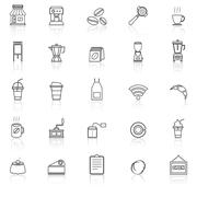 Coffee shop line icons with reflect on white background Stock Illustration
