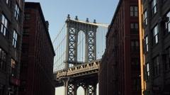 The Manhattan Bridge (4k), viewed from Washington Street, Dumbo, Brooklyn. Stock Footage