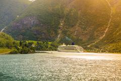 Cruise ship ferryboat on norwegian fjord Kuvituskuvat