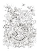 Gorgeous adult coloring page Stock Illustration