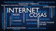 Internet of things word tag cloud - blue, Spanish variant Stock Footage