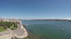 Lisbon, Portugal. Landscape from the Belem tower (or Tower of Saint Vincent). Stock Footage