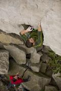 A young man climbs the Abyss 5.10b, Rattle Snake Point, ON Stock Photos