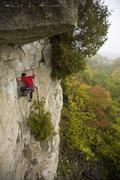 A young man climbs Marzipan 5.8, Rattle Snake Point, ON Stock Photos