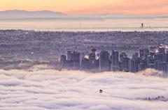 Fog envelopes Vancouver, British Columbia, Canada Stock Photos