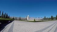 Lisbon, Portugal, Belém. Time lapse fountain named Luminosa. Stock Footage