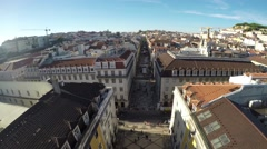 Lisbon, Portugal. landscape from Rua Augusta arch on the city Stock Footage