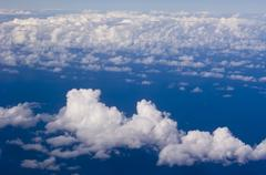 Clouds from aircraft window, Hawaii, United States Stock Photos