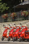 Red motos for rent, Radda in Chianti, Tuscany, Italy Stock Photos