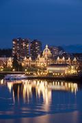 Inner Harbour and legislature at Twilight, Victoria, BC, Canada Stock Photos