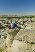 Hiker along the Milk River, Writing On Stone Provincial Park, Alberta, Canada Stock Photos