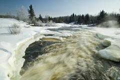 Winter along the Pinawa Channel, near Pinawa, Manitoba, Canada Stock Photos