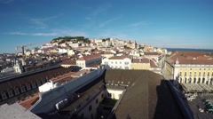 Lisbon, Portugal City Center, landscape from Rua Augusta arch on the city Stock Footage