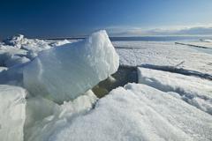 Washed up ice flows along Lake Winnipeg, Manitoba, Canada Stock Photos