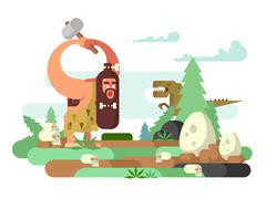 Primitive man with dinosaur Stock Illustration