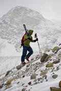 A backcountry skier hiking near Wapta Icefields, Banff National Park, Alberta, Stock Photos