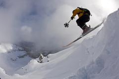 A backcountry skier skiing, Kicking Horse Backcountry, Golden, British Columbia, Stock Photos