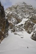 A man skiing, Mount Chephren, Icefields Parkway, Banff National Park, Alberta, Stock Photos