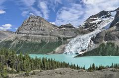 Rearguard Mountain. Berg Lake and Berg Glacier, Mount Robson Provincial Park, Stock Photos