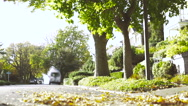 Motorcycle Rider Drives Up Towards Camera And Parks Stock Footage
