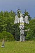 Namgis First Nation Totem poles, Namgis Burial Grounds, the Village of Alert Stock Photos