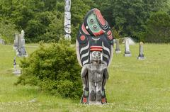 Namgis First Nation Totem pole, Namgis Burial Grounds, the Village of Alert Bay, Stock Photos