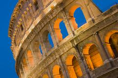 Close-up of the Coliseum at night, Rome, Italy Stock Photos