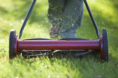 Woman cutting grass with environmentally friendly lawn mower. Winnipeg, Stock Photos