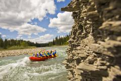 A group of rafters on the Red Deer River, Alberta, Canada Stock Photos