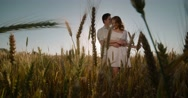 Morning sunrise happy togetherness love embrace,slow motion Stock Footage