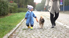 Baby boy is walking with mother and dog on a road, slow motion Stock Footage