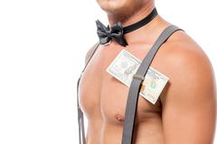 Hundred dollars in suspenders of sexual stripper close-up Stock Photos