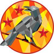 Crow Perch Stars Circle Low Polygon Stock Illustration