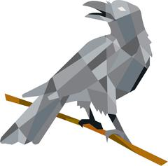 Crow Perching Looking Back Low Polygon Stock Illustration