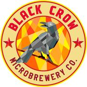 Crow Perched Microbrewery Circle Low Polygon Stock Illustration