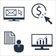 Set Of SEO, Marketing And Advertising Icons On Client Brief, Comprehensive An Stock Illustration