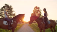 SLOW MOTION: Two amazing horses with riders facing each other at golden sunset Stock Footage