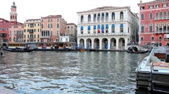 Canal near the Rialto bridge in Venice, Italy Stock Footage