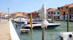 Canal in Murano, Veneto, Italy Stock Footage