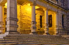 Steps and columns at the rear of the British Columbia Legislature, Victoria, Stock Photos