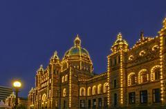 The British Columbia Legislature at night, Victoria, British Columbia, Canada Stock Photos