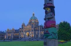 The Knowledge totem pole, BC Legislature, Victoria, British Columbia, Canada Stock Photos