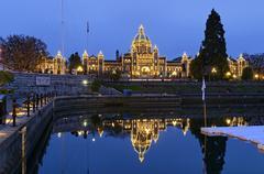 British Columbia Legislature and reflection, Inner Harbour, Victoria, British Stock Photos