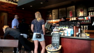 One side of people line up for ordering coffee and chatting Stock Footage