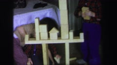 1972: kids building with blocks LYNBROOK, NEW YORK Stock Footage