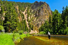 Man fly fishing, Rock Creek, Montana, United States of America Stock Photos