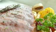 Grilled BBQ pork rib steak with sauce Stock Footage