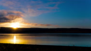4k.Sea or lake  morning sunrise time. Timelapse  without birds. Focus change Stock Footage